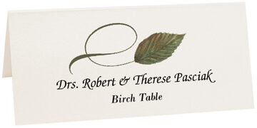 Photograph of Tented Birch Twisty Leaf Place Cards