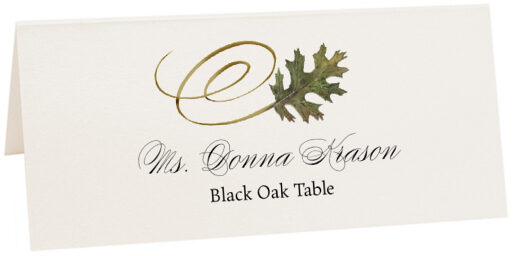 Photograph of Tented Black Oak Swirly Leaf Place Cards