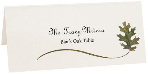 Photograph of Tented Black Oak Wispy Leaf Place Cards