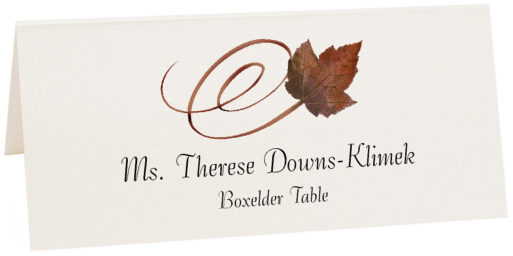 Photograph of Tented Boxelder Swirly Leaf Place Cards