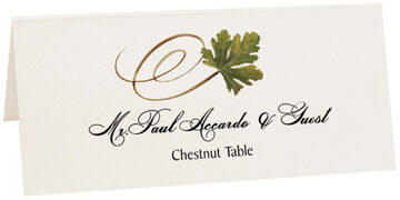 Photograph of Tented Chestnut Swirly Leaf Place Cards