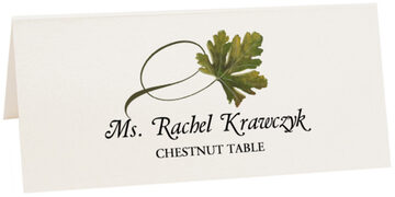 Photograph of Tented Chestnut Twisty Leaf Place Cards