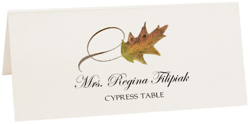Photograph of Tented Cypress Twisty Leaf Place Cards