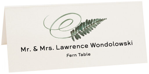 Photograph of Tented Fern Swirly Leaf Place Cards