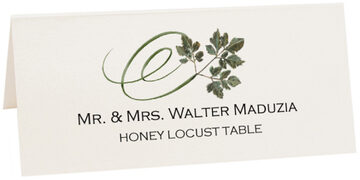 Photograph of Tented Honey Locust Swirly Leaf Place Cards