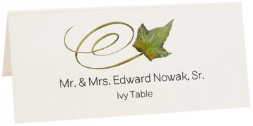 Photograph of Tented Ivy Swirly Leaf Place Cards