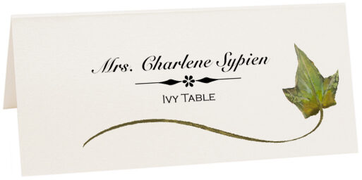 Photograph of Tented Ivy Wispy Leaf Place Cards