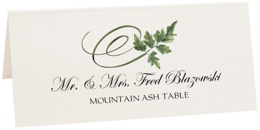 Photograph of Tented Mountain Ash Swirly Leaf Place Cards
