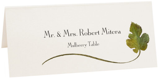 Photograph of Tented Mulberry Wispy Leaf Place Cards