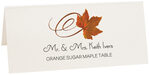 Photograph of Tented Orange Sugar Maple Swirly Leaf Place Cards