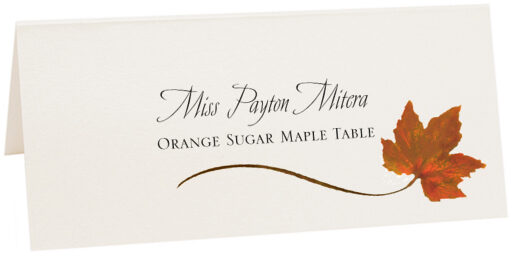 Photograph of Tented Orange Sugar Maple Wispy Leaf Place Cards