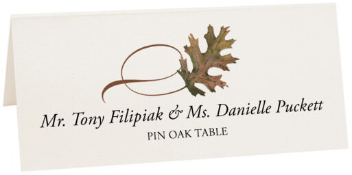 Photograph of Tented Pin Oak Twisty Leaf Place Cards