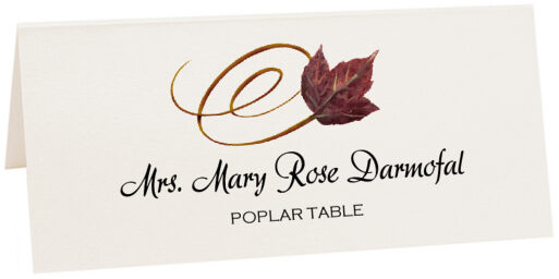 Photograph of Tented Poplar Swirly Leaf Place Cards