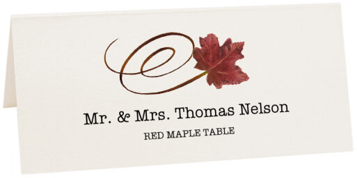 Photograph of Tented Red Maple Swirly Leaf Place Cards