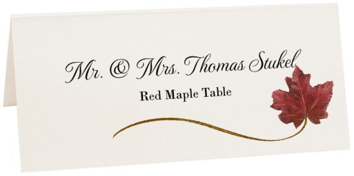Photograph of Tented Red Maple Wispy Leaf Place Cards