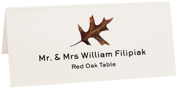 Photograph of Tented Red Oak Colorful Leaf Place Cards