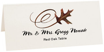 Photograph of Tented Red Oak Swirly Leaf Place Cards