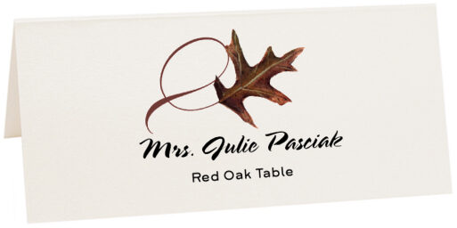 Photograph of Tented Red Oak Twisty Leaf Place Cards