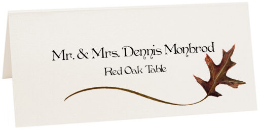 Photograph of Tented Red Oak Wispy Leaf Place Cards