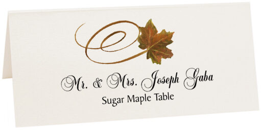 Photograph of Tented Sugar Maple Swirly Leaf Place Cards
