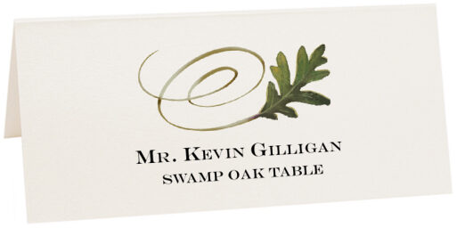 Photograph of Tented Swamp Oak Swirly Leaf Place Cards