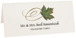 Photograph of Tented Sycamore Swirly Leaf Place Cards