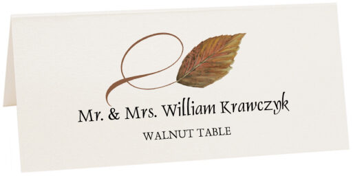 Photograph of Tented Walnut Twisty Leaf Place Cards