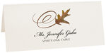 Photograph of Tented White Oak Swirly Leaf Place Cards