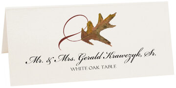 Photograph of Tented White Oak Twisty Leaf Place Cards