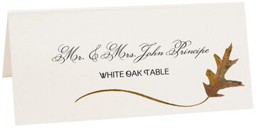 Photograph of Tented White Oak Wispy Leaf Place Cards