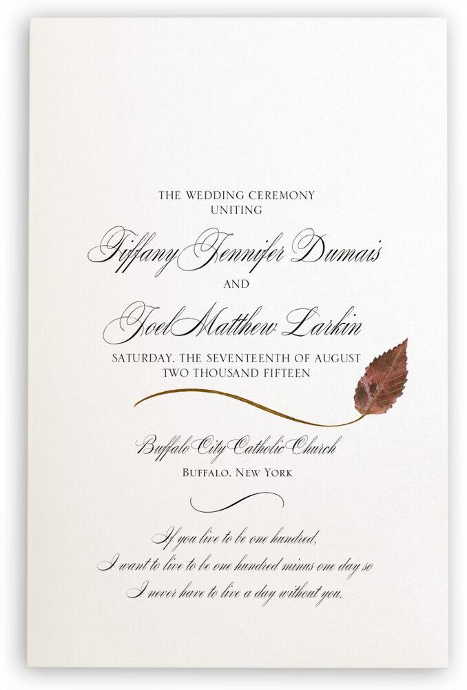 Photograph of Ironwood Wispy Leaf Wedding Programs