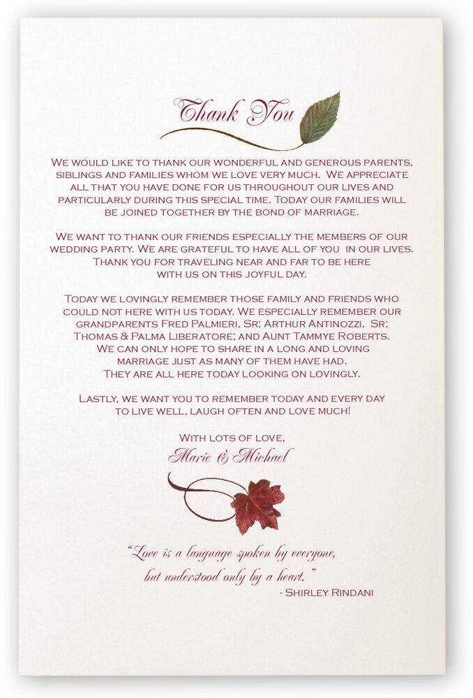 Photograph of Maple Leaf Pattern Wedding Programs