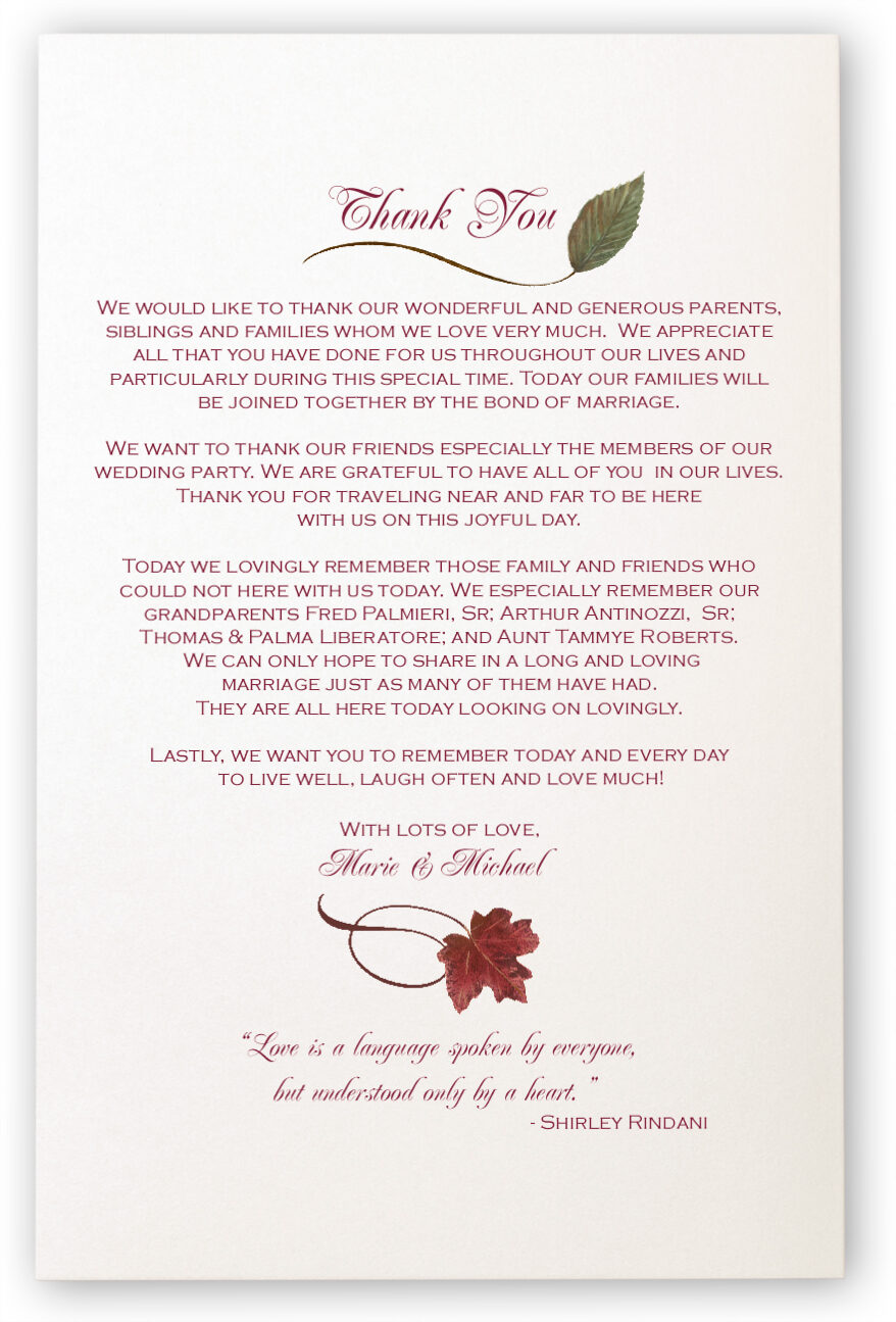 Photograph of Maple Leaf Pattern Wedding Programs