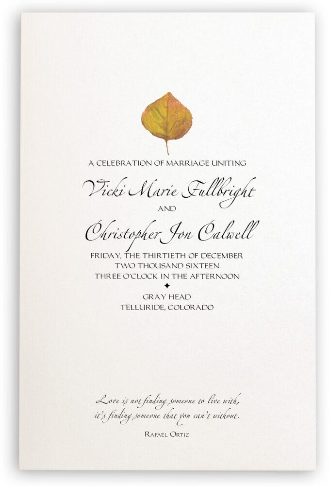 Photograph of Yellow Aspen Leaves Wedding Programs