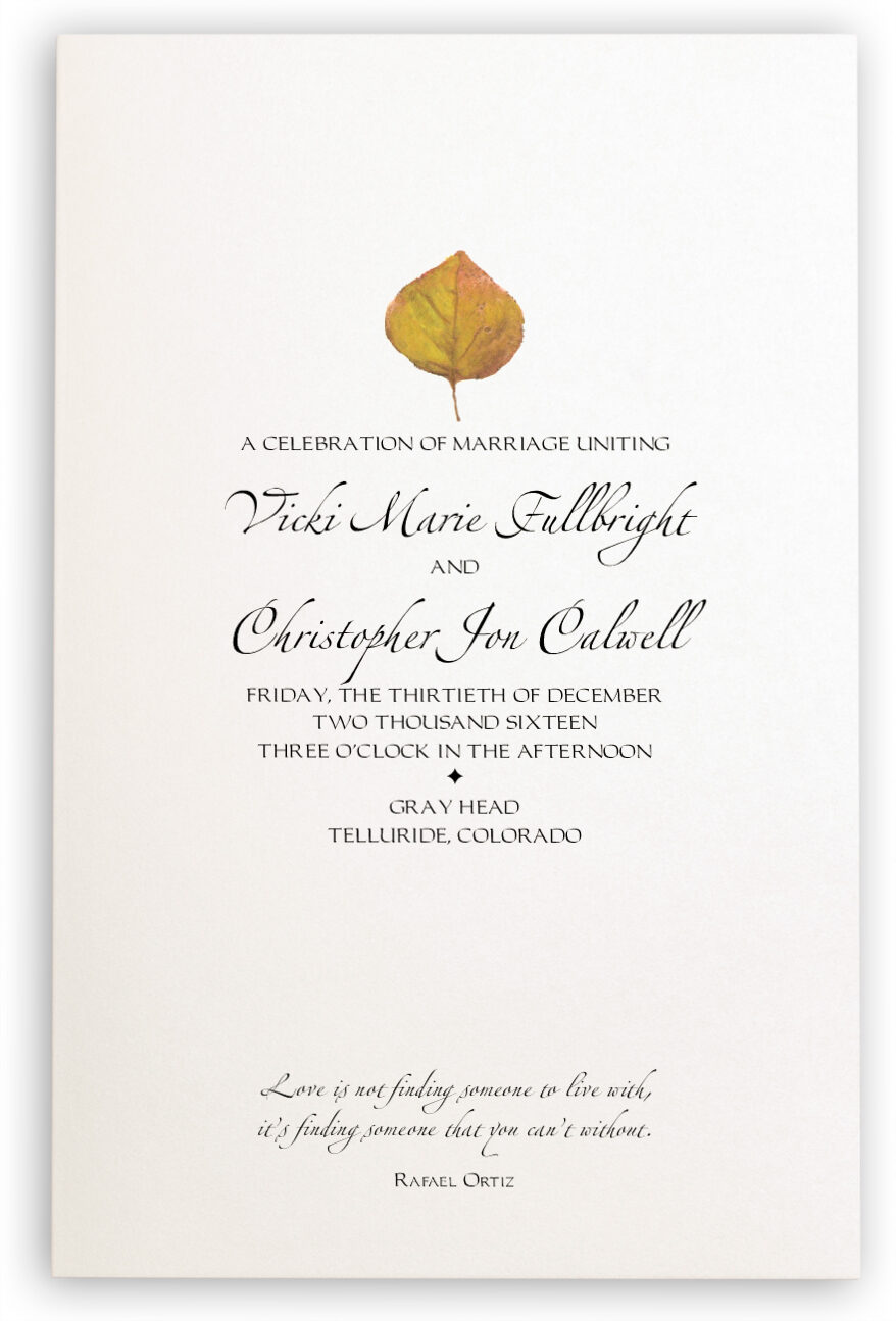 Photograph of Yellow Aspen Leaves Wedding Programs