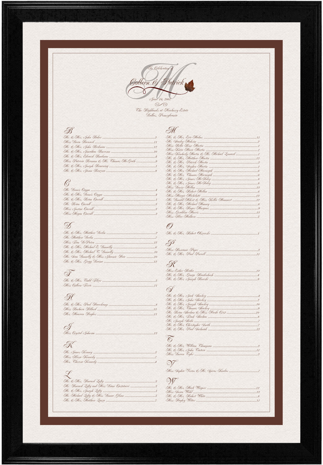 Photograph of Boxelder Leaf Flourish Seating Charts