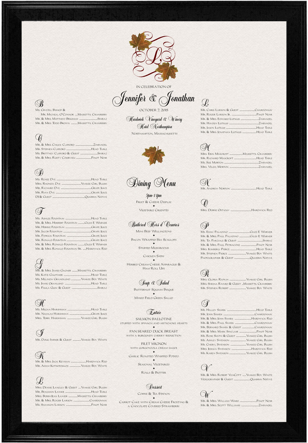 Photograph of Sugar Maple Leaf Flourish Seating Charts