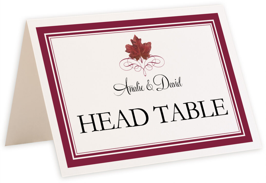 Photograph of Tented Red Maple Leaf Heart Table Names
