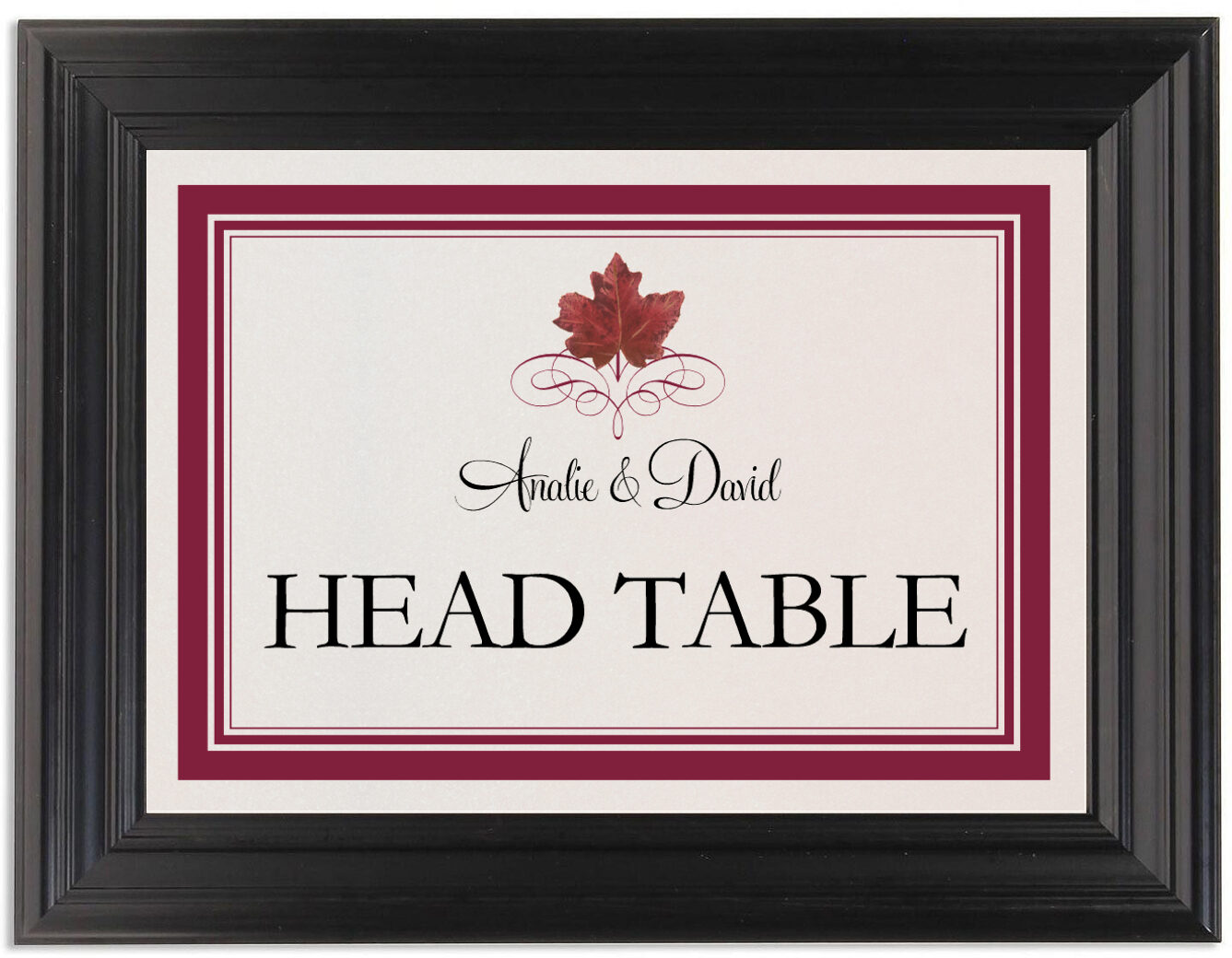Framed Photograph of Red Maple Leaf Heart Table Names