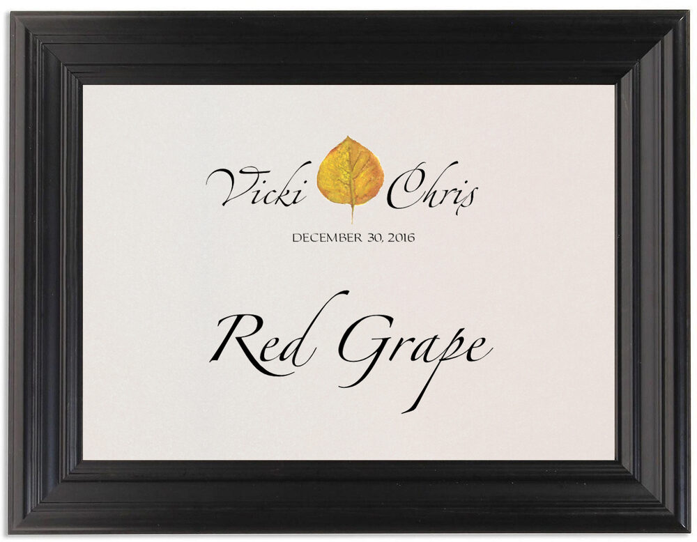 Framed Photograph of Yellow Aspen Leaves Table Names
