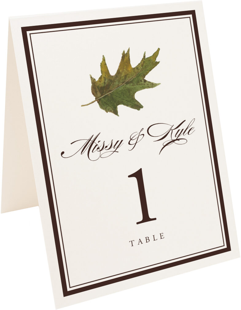 Photograph of Tented Colorful Leaves Assortment 01 Table Numbers