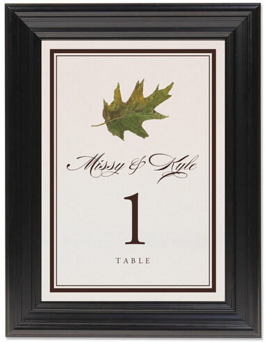 Framed Photograph of Colorful Leaves Assortment 01 Table Numbers