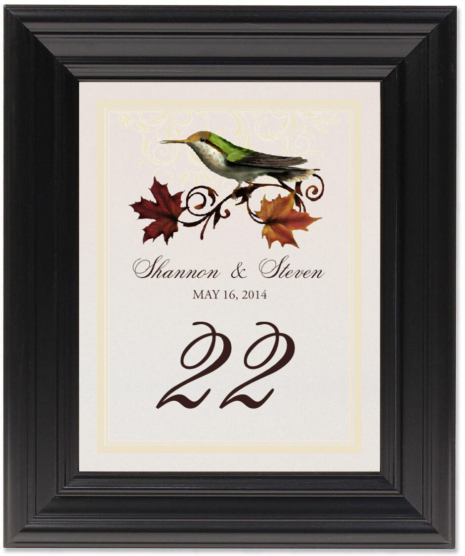 Framed Photograph of Fall Indy Table Numbers