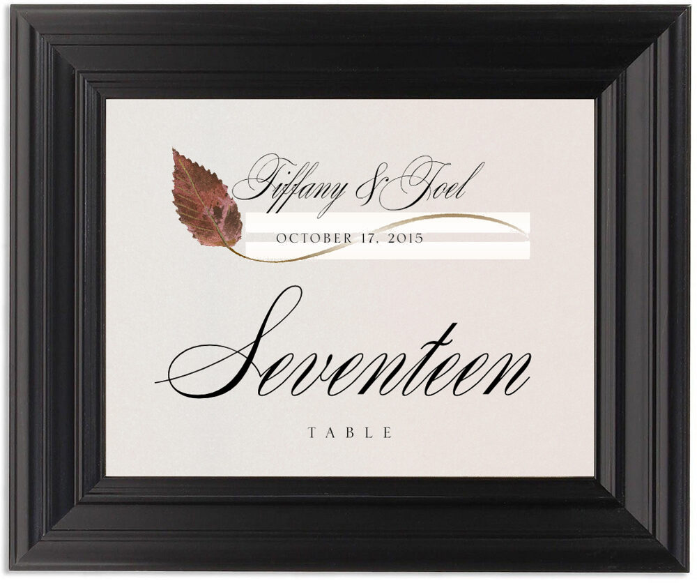 Framed Photograph of Ironwood Wispy Leaf Table Numbers