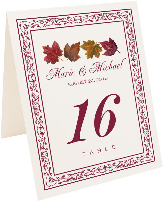 Photograph of Tented Maple Leaf Pattern Table Numbers