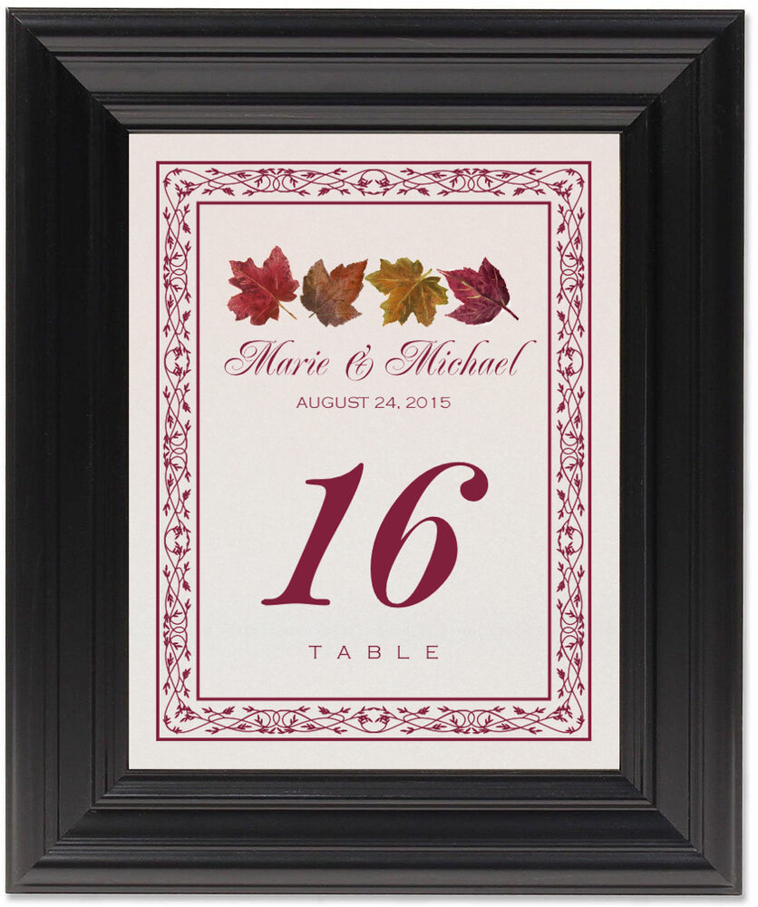 Framed Photograph of Maple Leaf Pattern Table Numbers