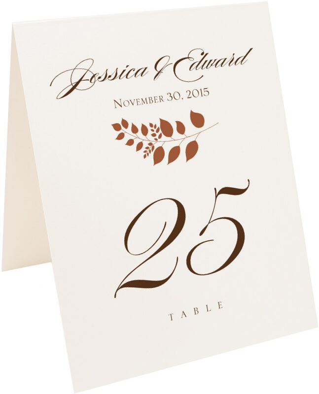 Photograph of Tented Peaceful Autumn 02 Table Numbers