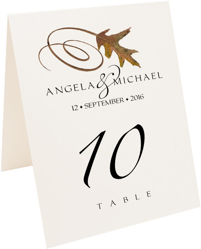 Photograph of Tented White Oak Swirly Leaf Table Numbers