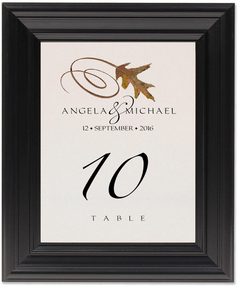Framed Photograph of White Oak Swirly Leaf Table Numbers