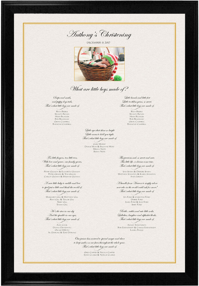 Photograph of Christening Photo with Poems Seating Chart Wedding Certificates